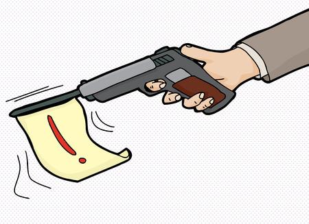 prank: Cartoon of pistol firing flag with exclamation mark Illustration