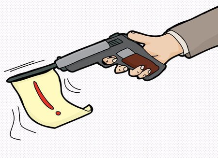 Cartoon of pistol firing flag with exclamation mark Illustration
