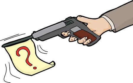 firing: Isolated cartoon gun firing a flag with question mark Illustration