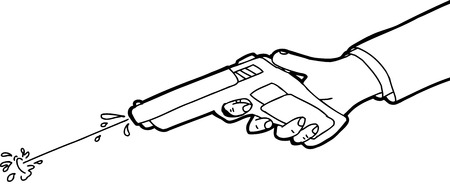squirt: Cartoon outline of hand shooting squirt gun