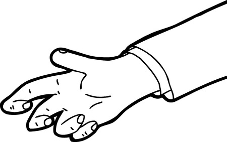 cramped: Outline cartoon of single hand reaching out