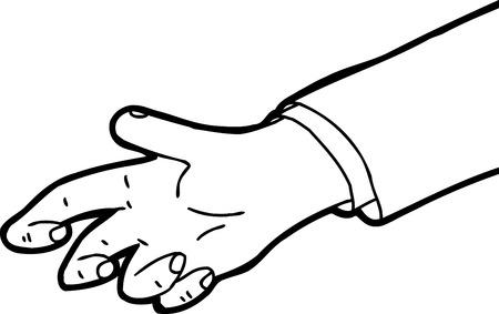 밖으로 나가는 한 손의 윤곽 만화