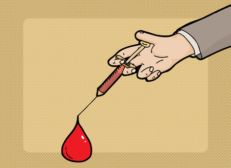 Close up of large blood drop at end of needle 일러스트