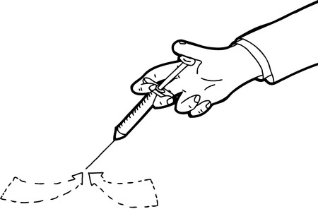 hypodermic needle: Outline of blood sample close up with arrows Illustration