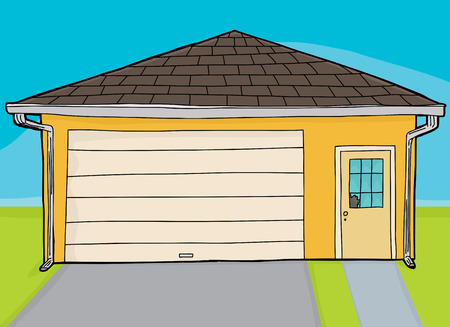 broken window: Single hand drawn cartoon yellow garage with broken window Illustration