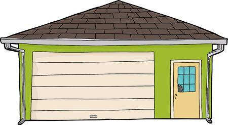 burglary: Green cartoon residential garage with broken glass door Illustration