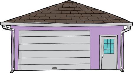 hand drawn cartoon: Aislado de dibujos animados dibujados a mano de garaje residencial con puerta Vectores