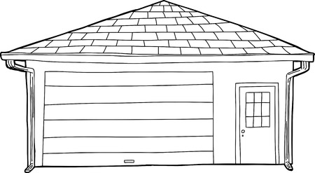 residential garage: Single outline residential garage with closed doors
