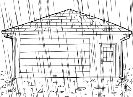 Hand drawn cartoon outline garage with rain spouts