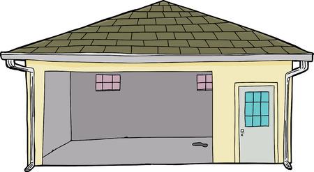 Single cartoon garage met vlek op de vloer en de deur