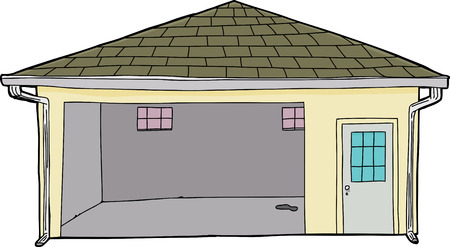 doorway: Single cartoon garage with stain on floor and doorway
