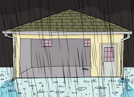 gutter: Evening rain storm on garage with open door Illustration