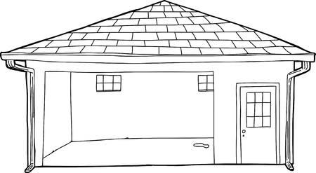 open doorway: Cartoon of doorway on empty open residential garage