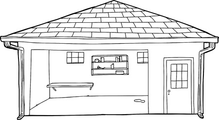 single shelf: Outlined empty garage with shelf and doorway Illustration