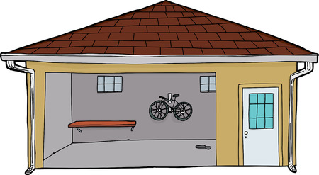Isolated hand drawn cartoon of garage with bike and doorway