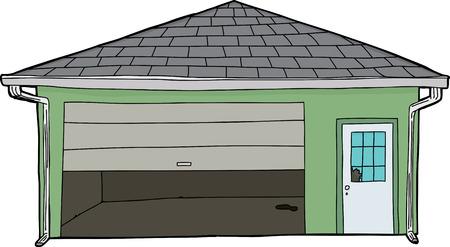 Isolated garage with broken window and partially open door