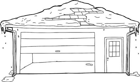 melting: Melting snow on top of garage with stuck door Illustration
