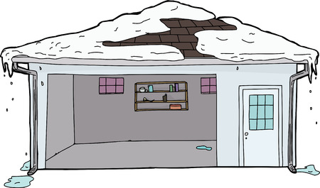 melting: Snow melting from roof of empty residential garage Illustration