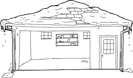 residential garage: Outline of empty residential garage with melting snow on roof