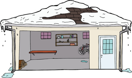 Open garage door with log pile and melting snow on roof Illustration