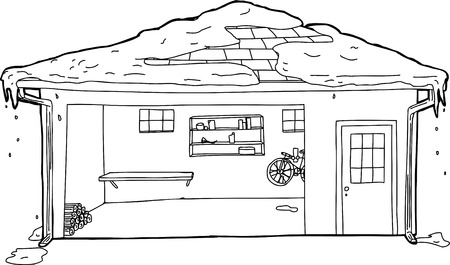 Open garage door with doorway and snow on roof