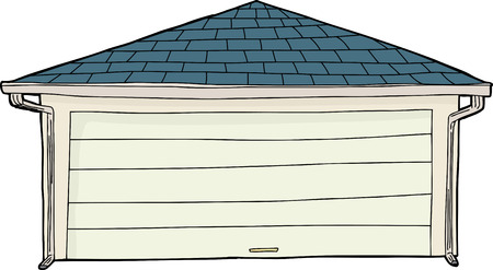 residential garage: Cartoon of single residential garage with gutters