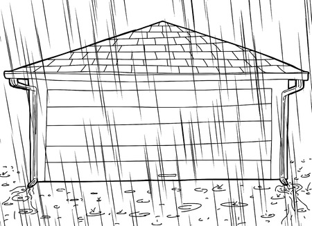 Outline of residential garage with closed door and rain