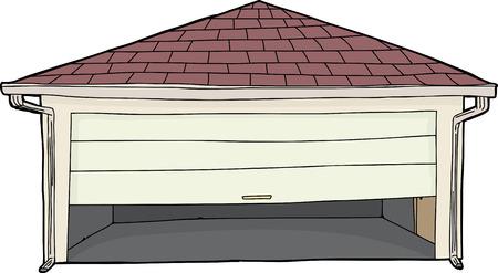 Lege illustraties garage met gedeeltelijk open deur Stock Illustratie