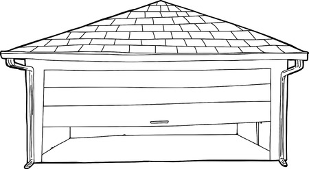 partially: Outline cartoon of partially open garage door