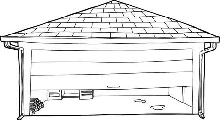 residential garage: Outline cartoon of residential garage with half open door Illustration