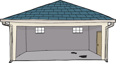 Empty isolated cartoon garage with oil stains on floor Illustration