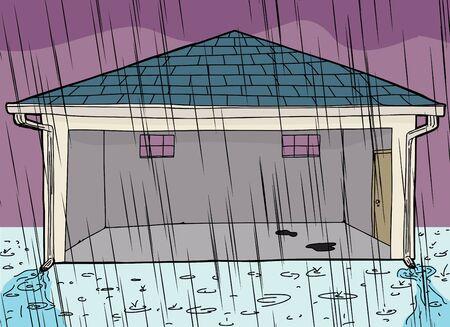 Cartoon of garage with open door during rain storm Ilustração