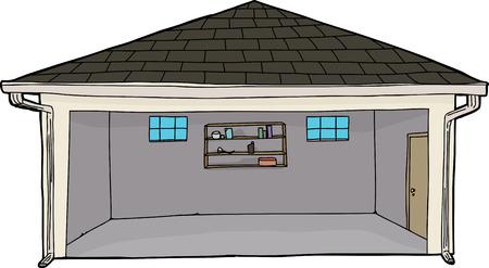 Empty single isolated cartoon garage with doorway Illustration