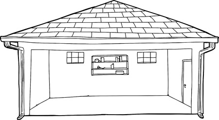 residential garage: Single large empty residential garage cartoon outline