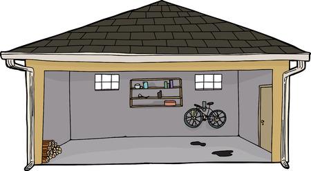 Hand drawn cartoon open garage with log pile
