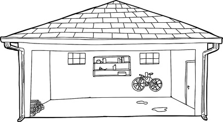 residential garage: Outline of large open residential garage with bike and log pile