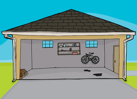 Open garage with bike and firewood pile inside