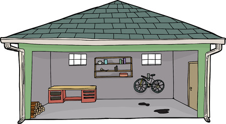garage door: Isolated cartoon garage with bike and workbench