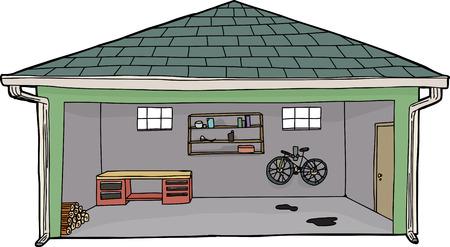 Isolated cartoon garage with bike and workbench