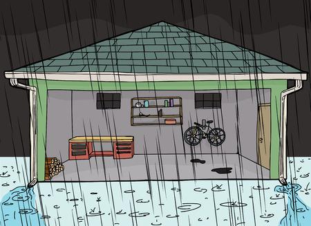 Open garage door at night during rain storm