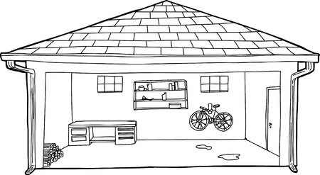 Outline cartoon of open residential garage with bike and workbench