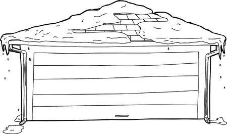 outline drawing: Disegno Schema di box singolo porta con neve in cima