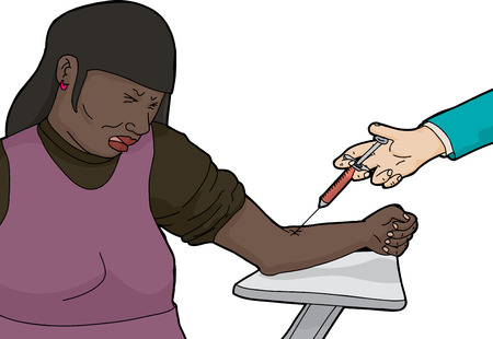 hypodermic needle: Cartoon of African adult female cringing while giving blood for test