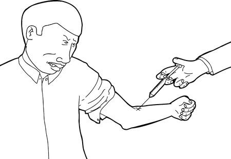 hypodermic needle: Outline cartoon of man closing eyes during immunization