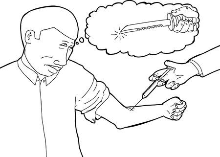 Worried man seeing dagger in mind during blood test 일러스트