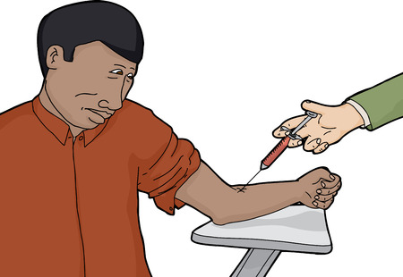 hypodermic needle: Isolated nervous Black man getting a blood test