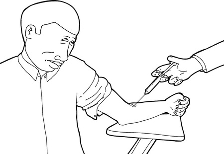 phlebotomy: Cartoon outline of man looking at arm during blood test Illustration