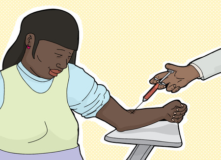 phlebotomy: Calm Hispanic female at table giving blood for test Illustration