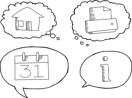 dialog: Outlined cartoon technology icons in dialog bubbles Illustration