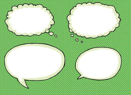 Set of four empty dialog bubble icons over halftone